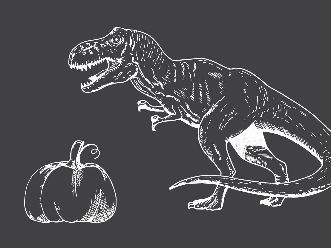A T. Rex Picks Pumpkins!