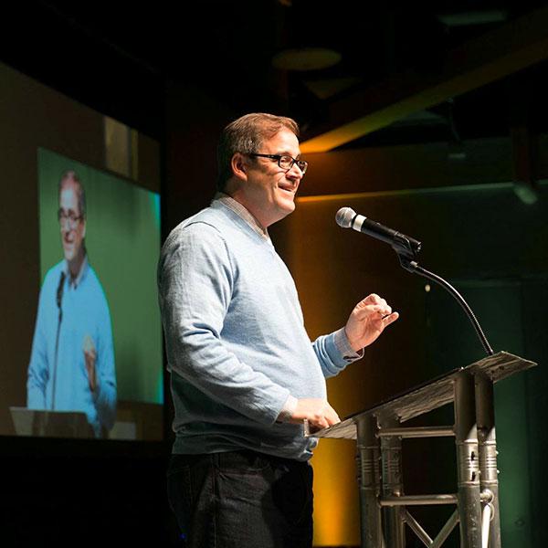 Joe Kiedinger during a speaking engagement
